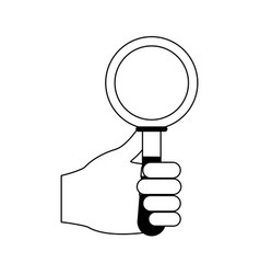 Hand holding magnifying glass icon image vector