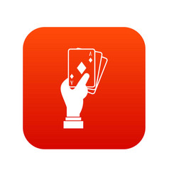 Hand holding playing cards icon digital red vector