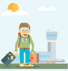 holiday for businessman man with travel bag vector image vector image