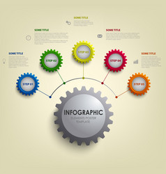 Info graphic with abstract colored desig gears vector