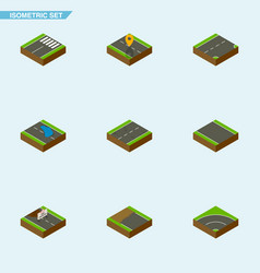 Isometric road set of cracks footer navigation vector