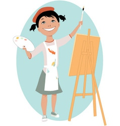 Little girl painting a picture vector image