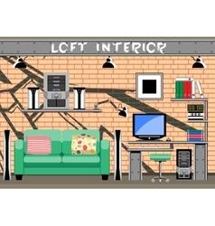 Living room interior loft vector