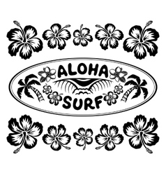 Oval surfing style label with sign aloha surf and vector