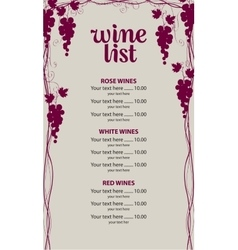 Price list for the wine vector