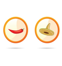 red chili peppers and sombrero vector image