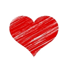 Red scratched heart icon over white vector