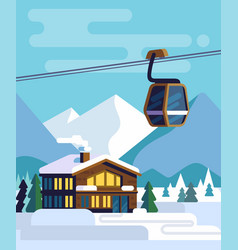 Resort with hotel with a ski lift vector