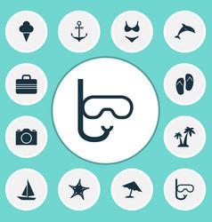 Season icons set collection of sorbet bikini vector
