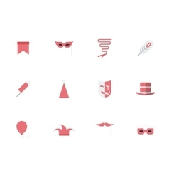 Set of masquerade simple flat icons vector image