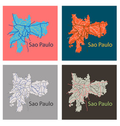 Set of sao paulo brazil flat map isolated on vector