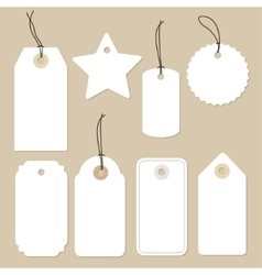 Set of various blank white paper tags labels vector image