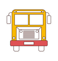 Silhouette color sections of front view school bus vector