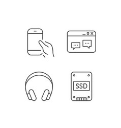 Ssd disk headphones and hold smartphone icons vector