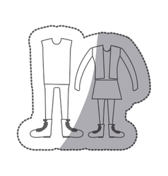 Sticker silhouette with pair clothing vintage vector