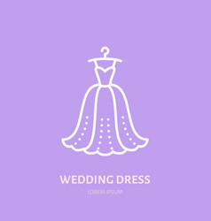 Wedding dress on hanger icon clothing shop line vector