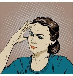 Woman in stress has headache vector