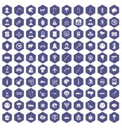 100 phobias icons hexagon purple vector