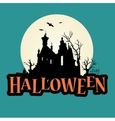 halloween logo haunted mansion vector image