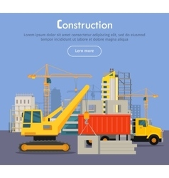 Construcrtion build banner concept in flat style vector