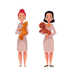 female veterinarians vets in medical coats vector image