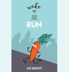 poster of funny running and jogging carrot vector image