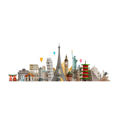 Sights countries of world journey travel concept vector