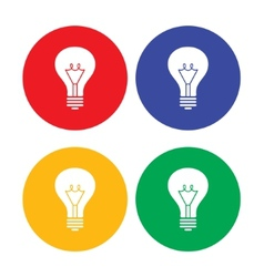 Flat simple light bulb icons vector