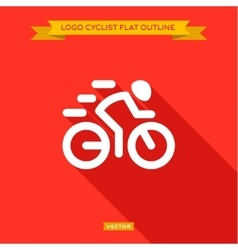 Racing cyclist dinanima logo icon outline flat vector