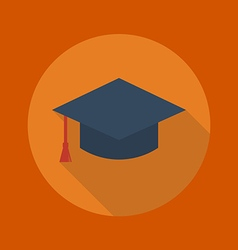 Education flat icon graduation cap vector
