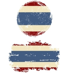 Thai round and square grunge flags vector