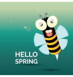 Hello spring  cartoon cute bright baby bee vector