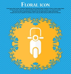 Scooter icon floral flat design on a blue abstract vector