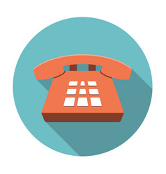 Desk phone icon flat vector
