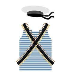 Striped vest shirt-clothing sailor man tape with vector
