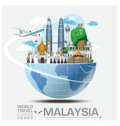 Malaysia landmark global travel and journey vector