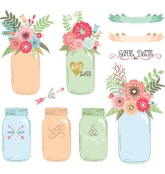 Wedding flower mason jarhand draw set vector