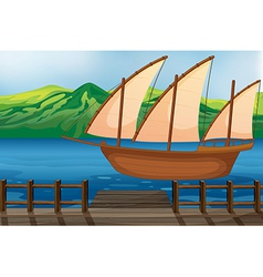 A wooden ship vector image