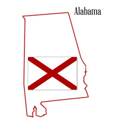 alabama state flag and map vector image vector image