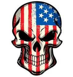 american flag painted on skull vector image vector image
