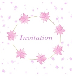 Background for invitation cart with flowers lotus vector