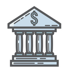 Bank building filled outline icon business vector