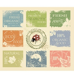 BIO ECO ORGANIC Labels Collection vector image vector image