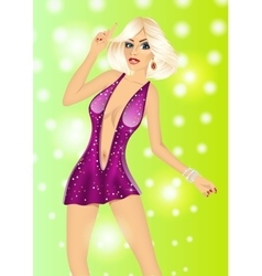 blonde lady in the night club vector image vector image