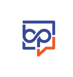 Bp letter with square bubble logo vector
