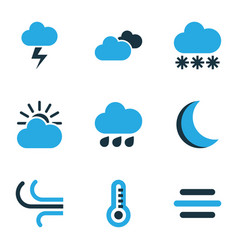 Climate colored icons set collection of overcast vector