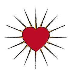 Comic heart love decoration emblem vector