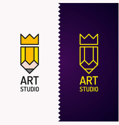 Conceptual logo and label art studio vector