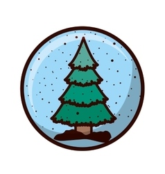 crystal sphere with christmas tree inside vector image