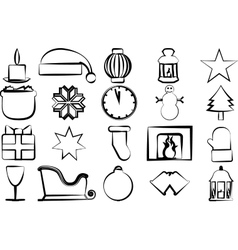 Drawn icons with Christmas paraphernalia on a vector image vector image